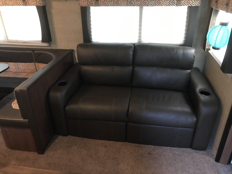 Leather sofa bed.. Aerolite Travel Trailer 2014