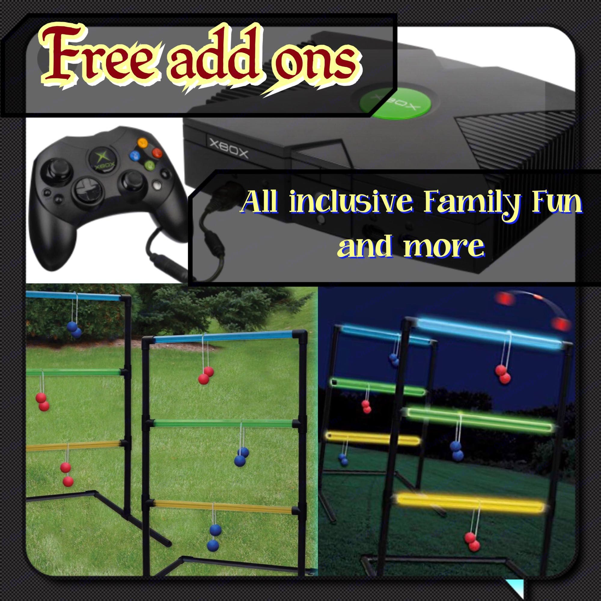 more lawn games included ladder ball Xbox  also include target ball lawn game  And a badminton set with birdies. Jayco Greyhawk 2007