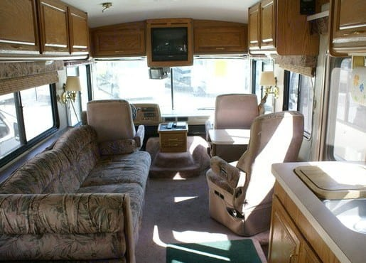 View to the front of the coach from the dinette. Fleetwood Bounder 34J 1994