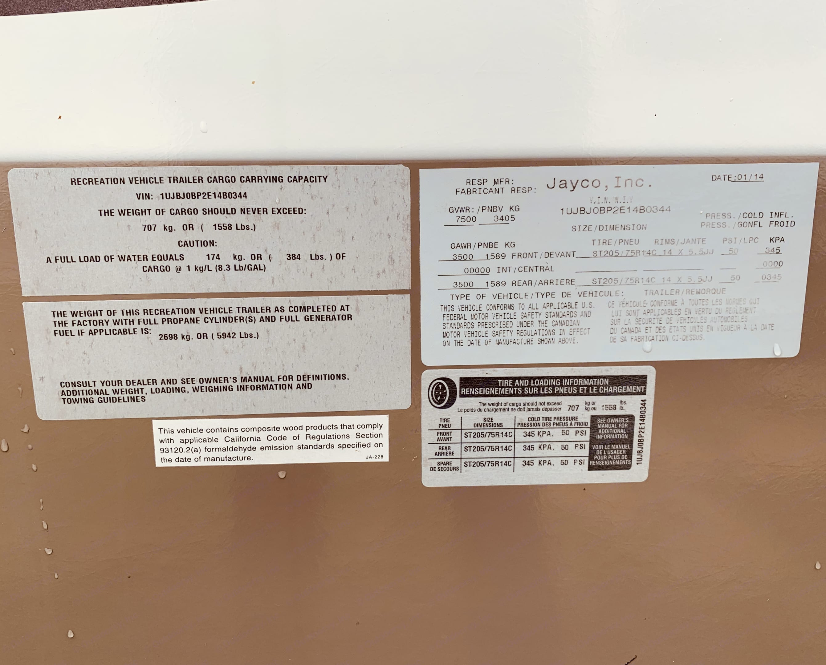 Mechanical specifications . Jayco White Hawk 2014