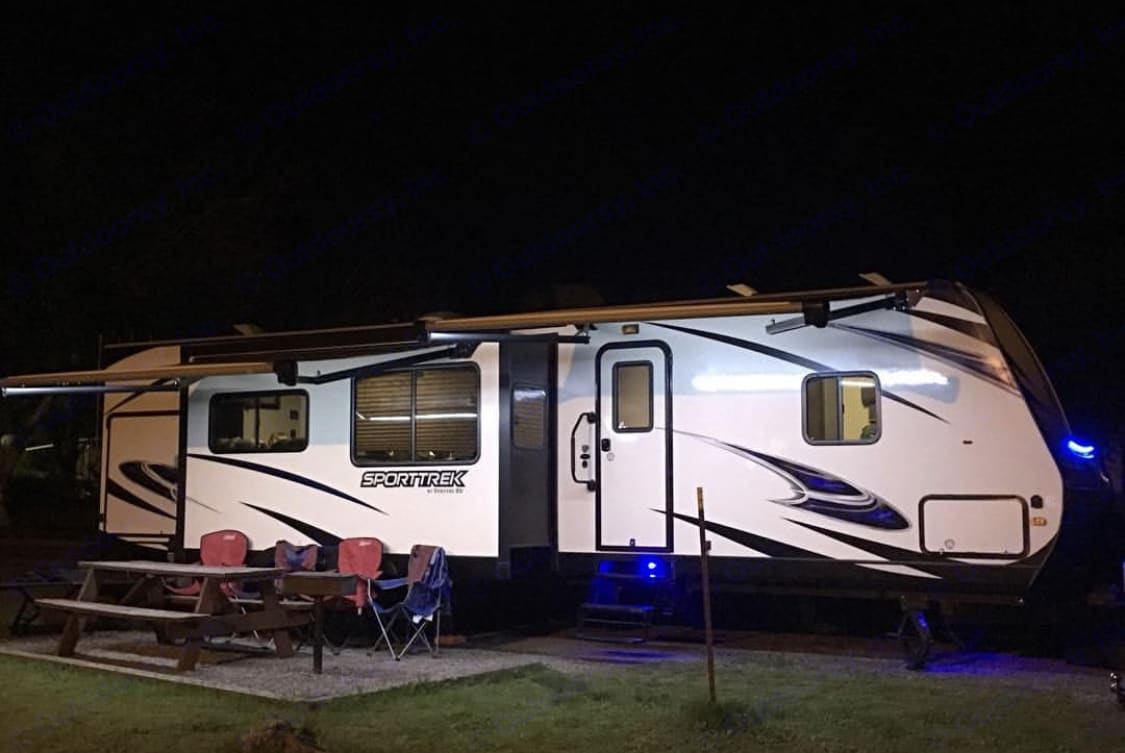 Camping at its best! Lighting for nights by the fire . Venture Rv Sporttrek 2017