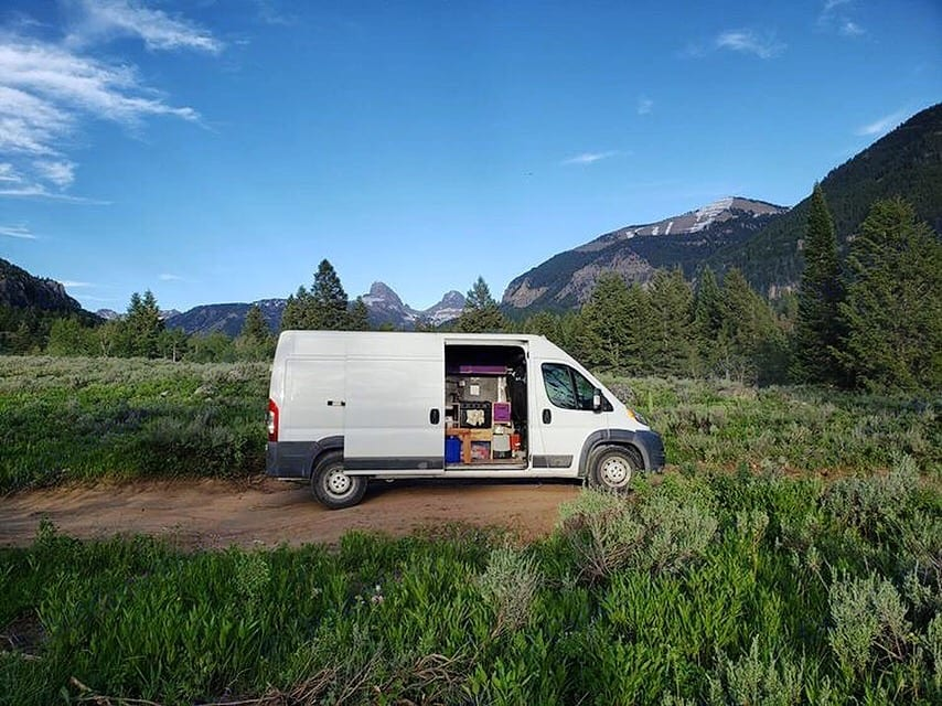 The van in its element.  The Tetons in the background . Dodge promaster 2014