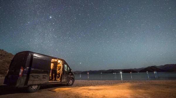Camping at  Bahía Concepción, Baja Mexico.. Dodge Promaster 1500 2014