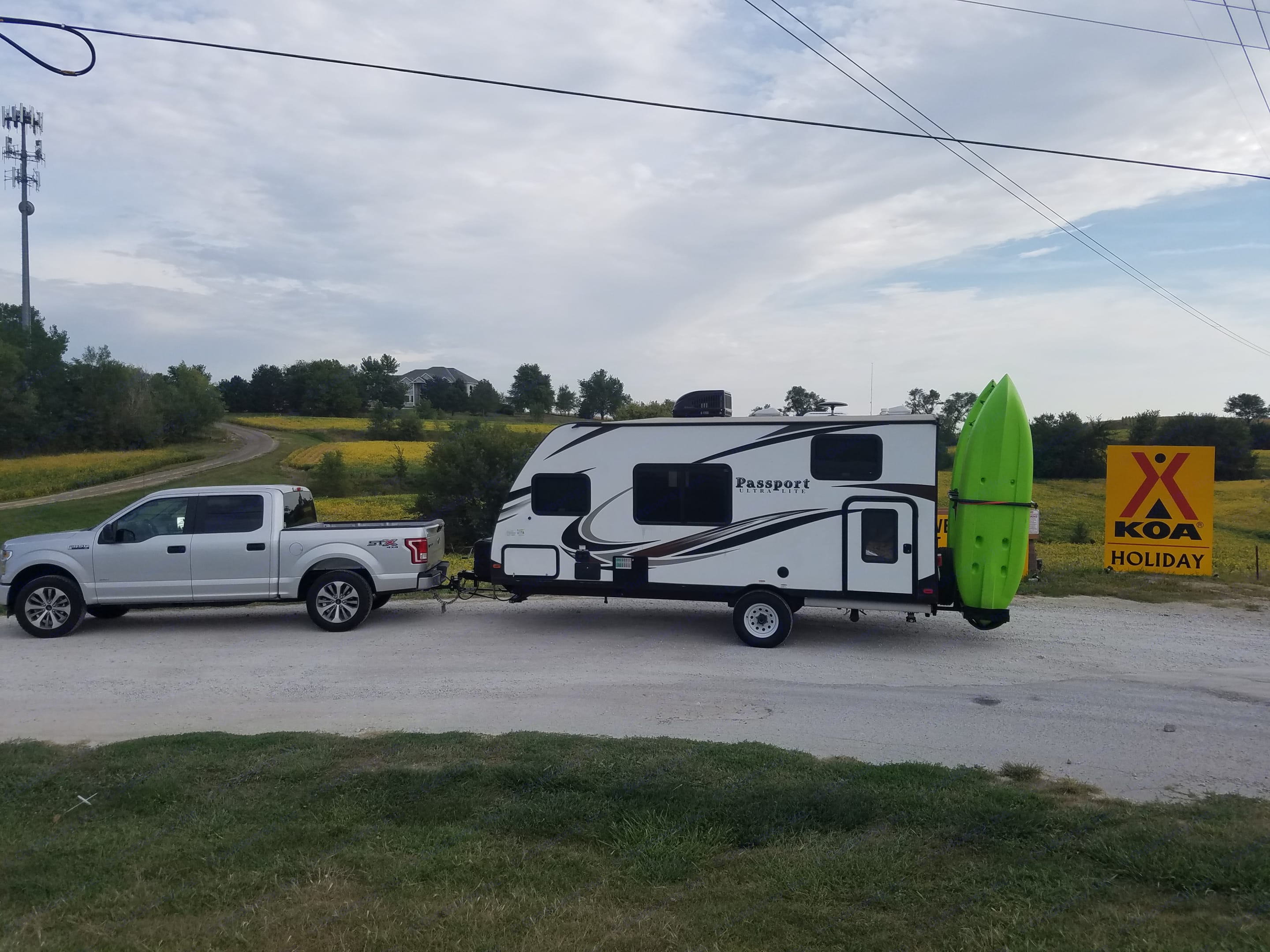 Easy to tow anywhere! Kayak rack is no longer there.. Keystone Passport 2017