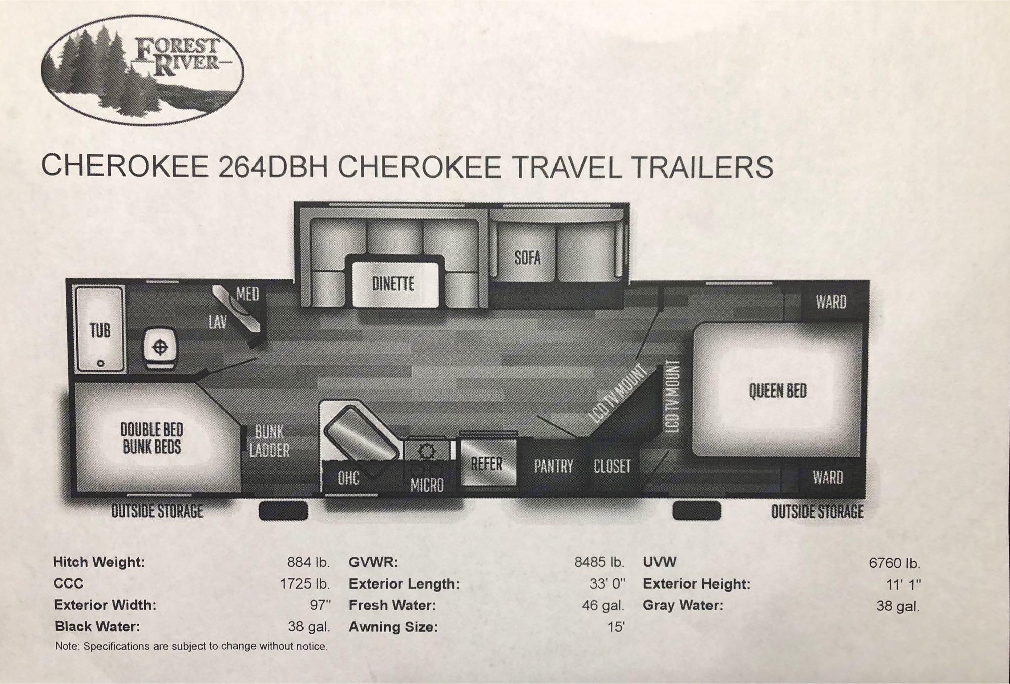 Floor Plan and Specs. Forest River Cherokee 2019