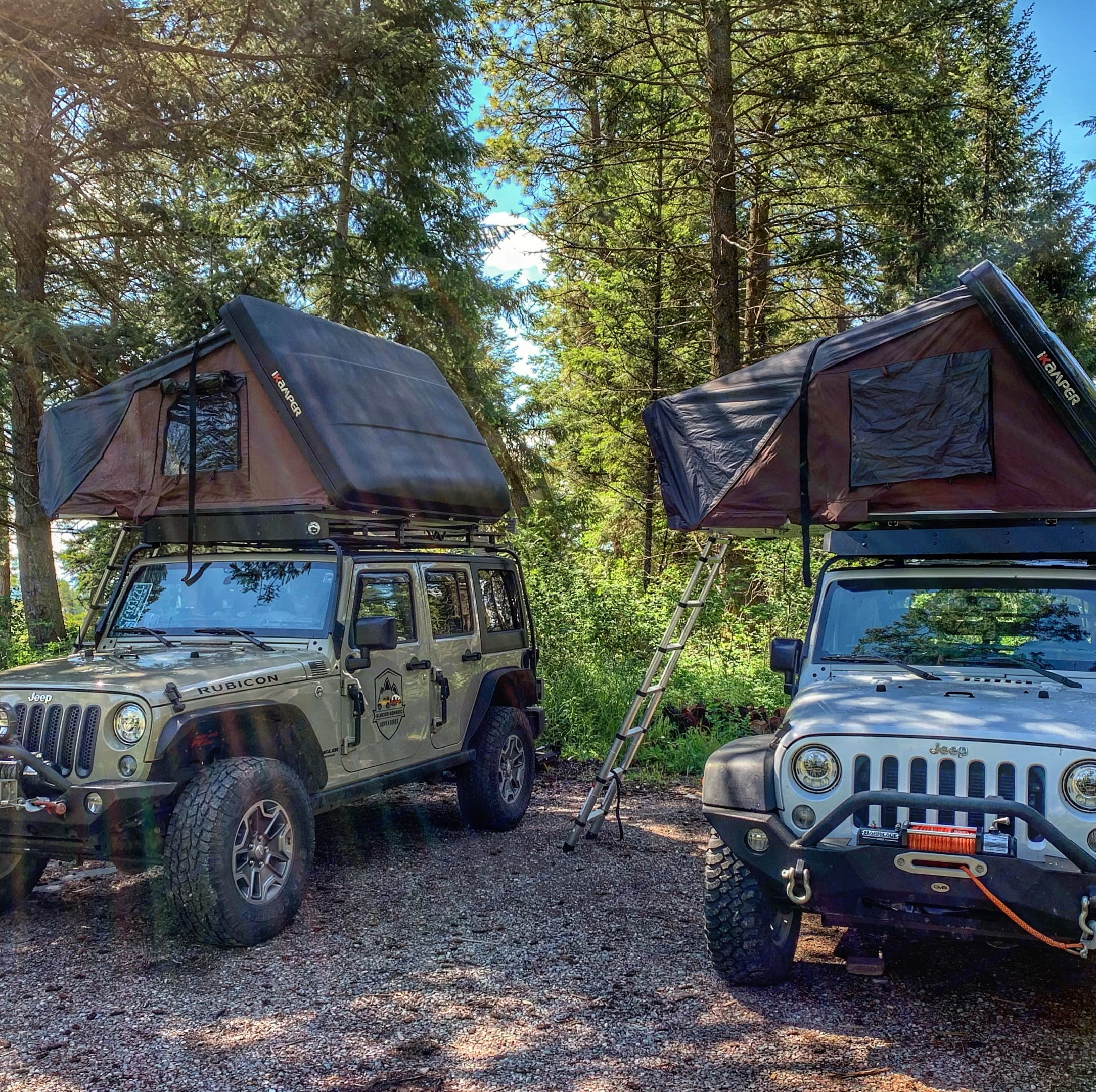 Our Jeep Wranglers are equipped with iKamper Roof Top Tents.. Jeep Rubicon 2017