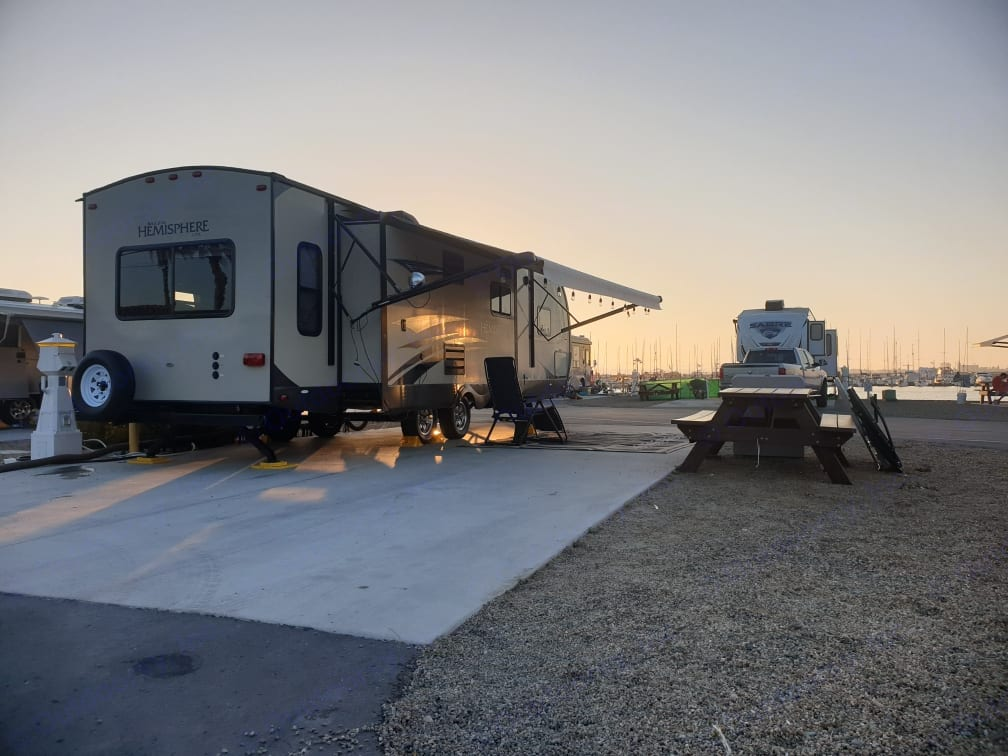 This photo is after we set up the trailer at Fiddlers Cove on Coronado Island. Very nice park!. Forest River Salem Hemisphere Lite 272RLIS 2015