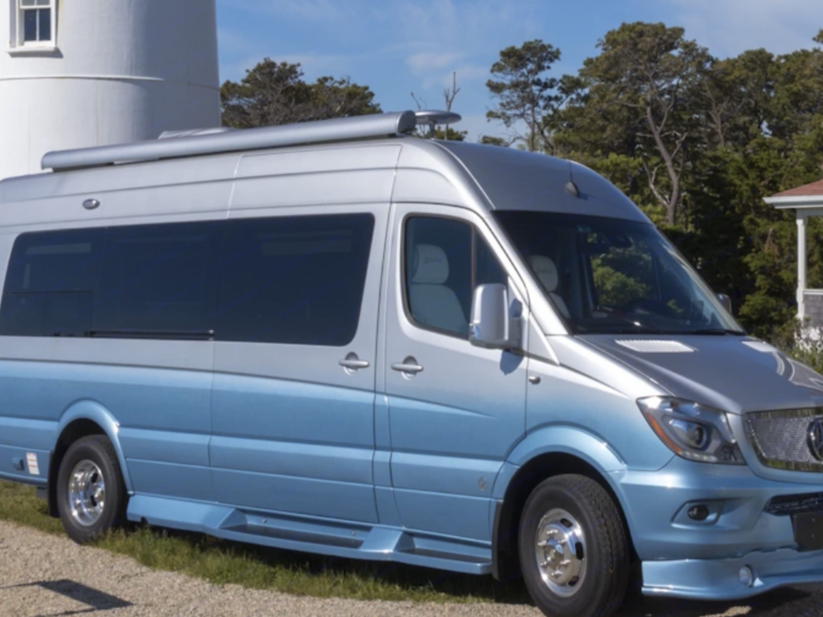 Beautiful van, blends in with the ocean beach.. Dolphin Cape Cod 2018