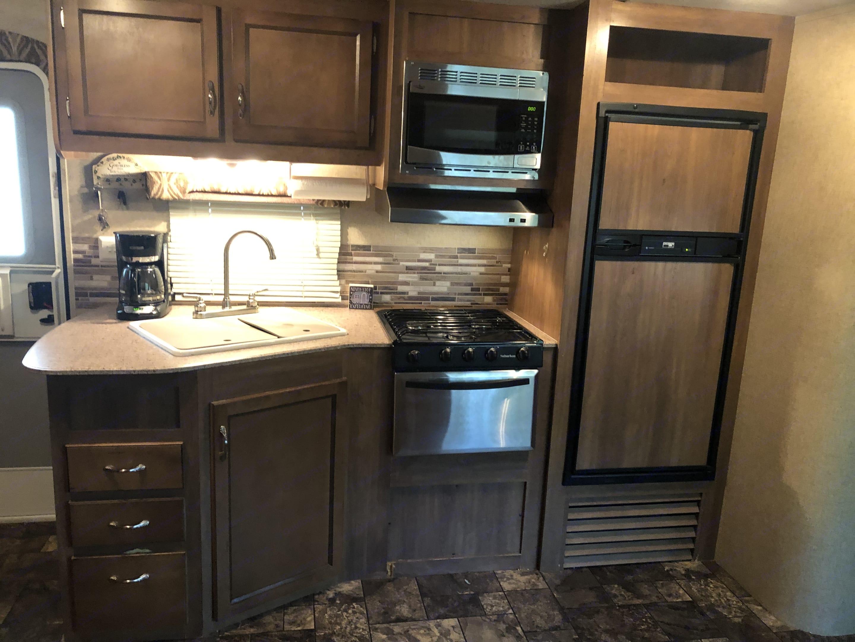 Indoor kitchen perfect for food prep. Coachmen Catalina 2016