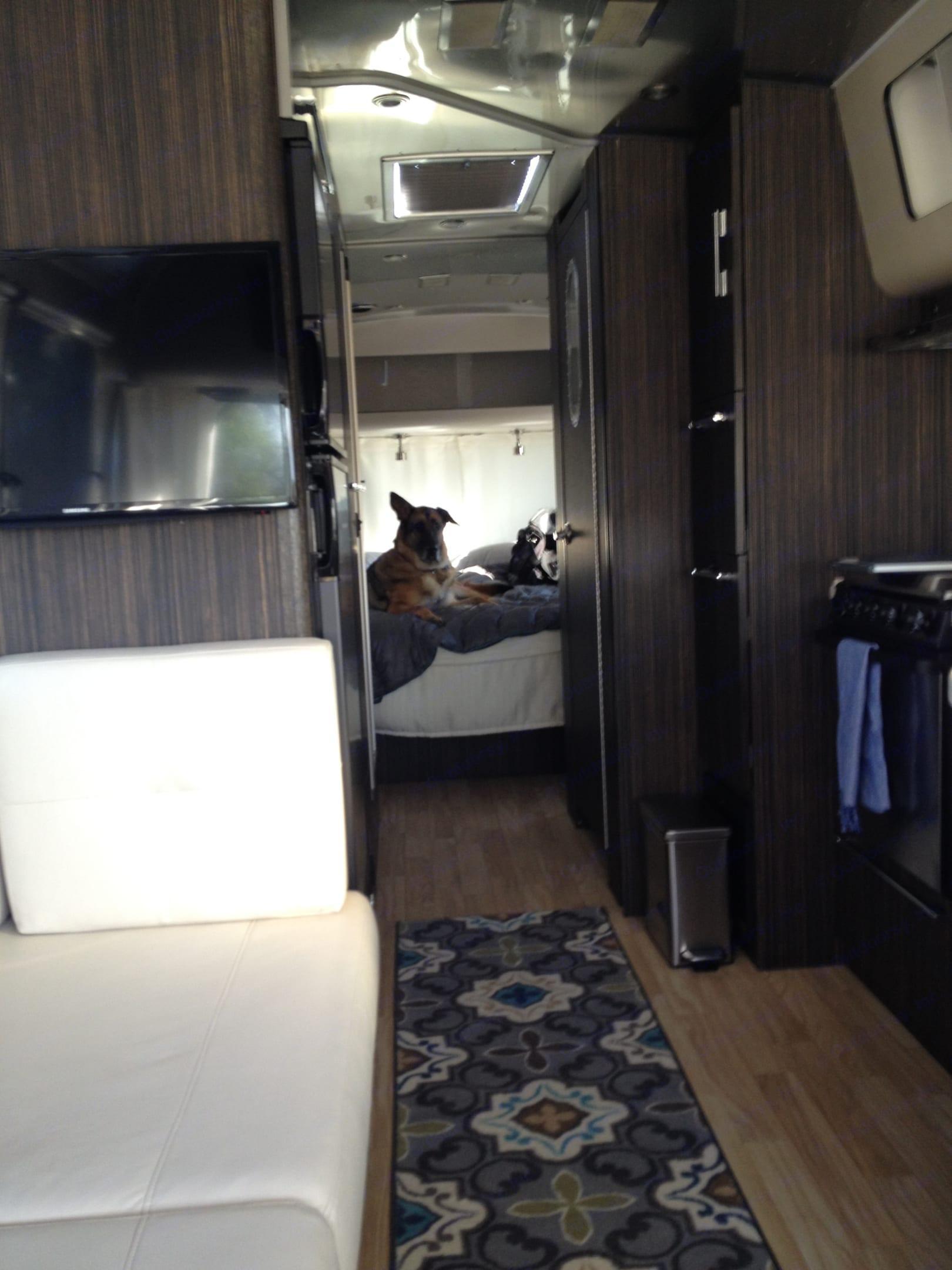 Interior look towards front bedroom. Airstream International 2015