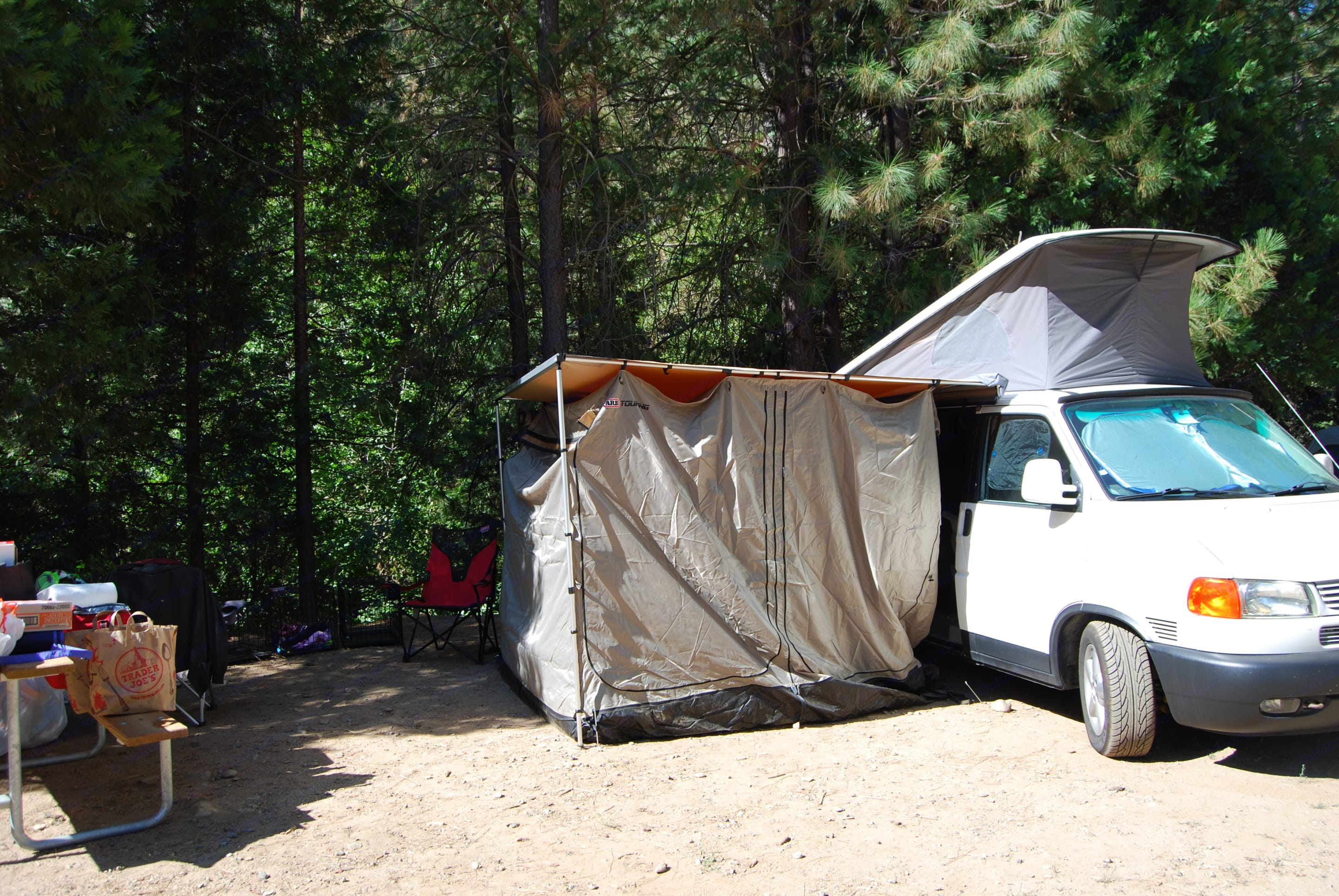 Fully enclosed room is large enough to fit a queen airbed and allows for full privacy.. Volkswagen T4 Multivan Westfalia 2002