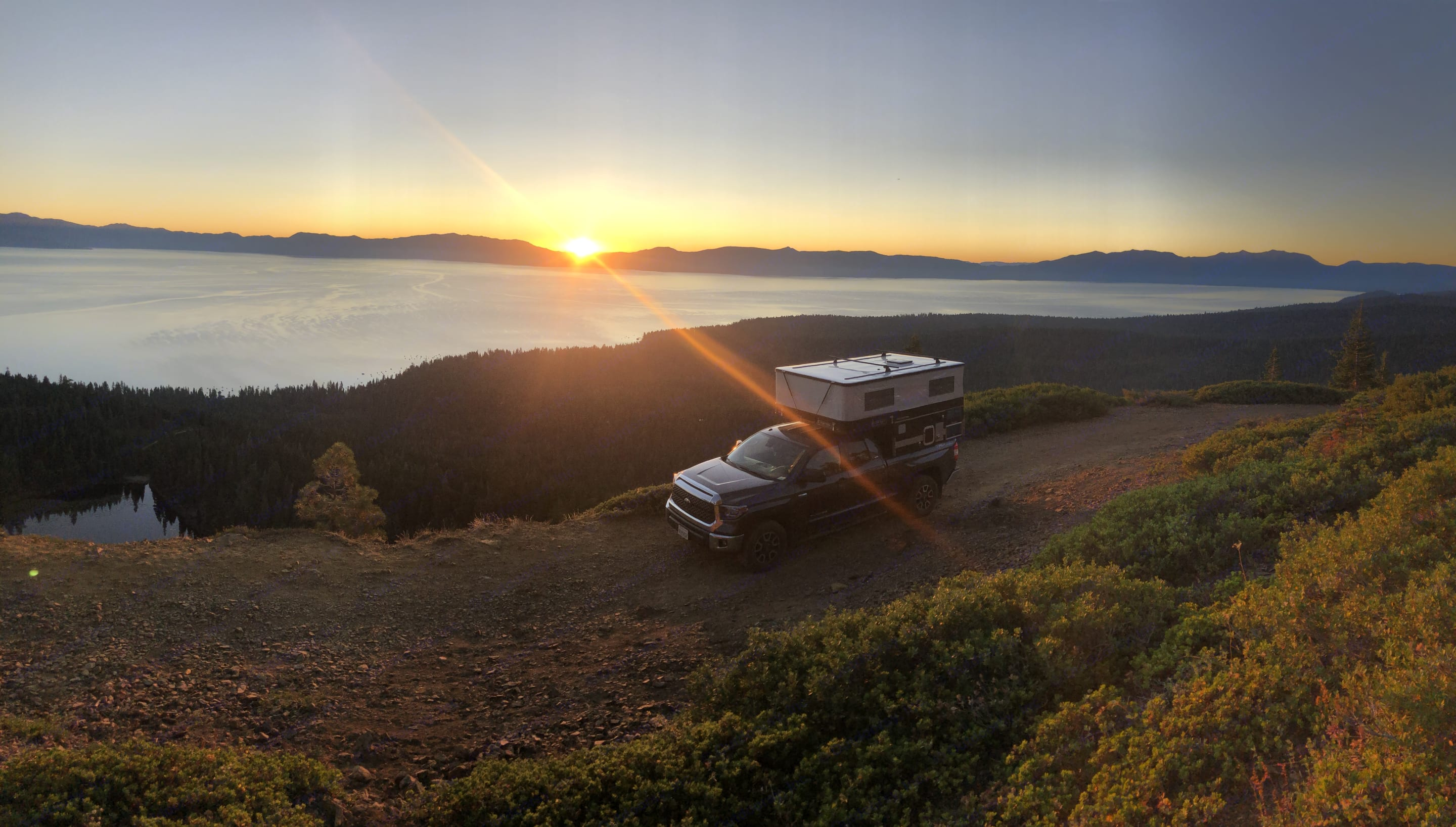 no generator noise up here! this is one of our favorite places to camp over looking Tahoe!. Four Wheel Campers Hawk 2019