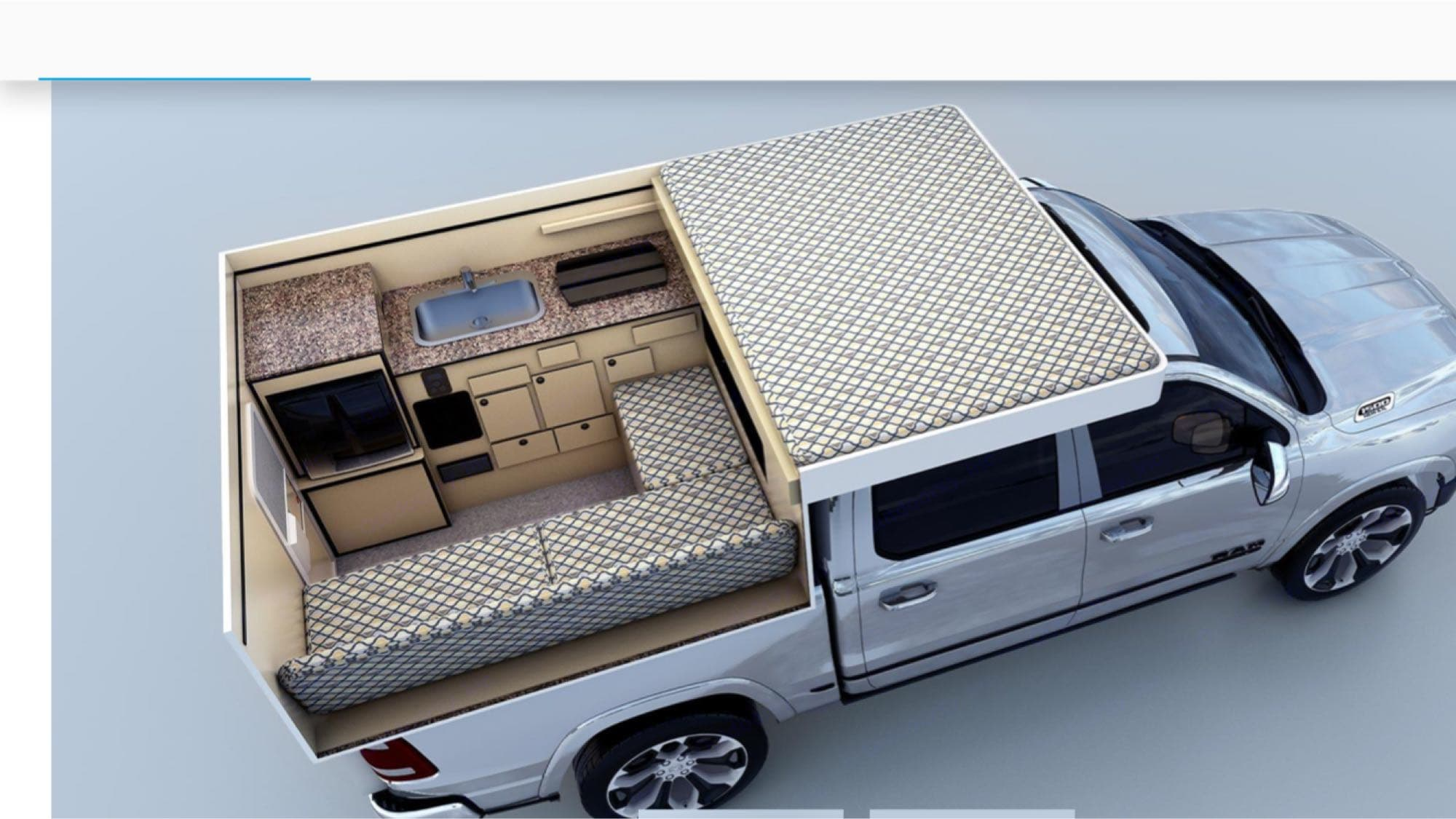 interior layout example..couch fold out to make lower bed or sleeping area with out pop up, or pop top up and have the upper bed and lower bed. 20 gallons of water, two propane tanks for 2 burner stove and heater. plus a refrigerator!. Four Wheel Campers Hawk 2019