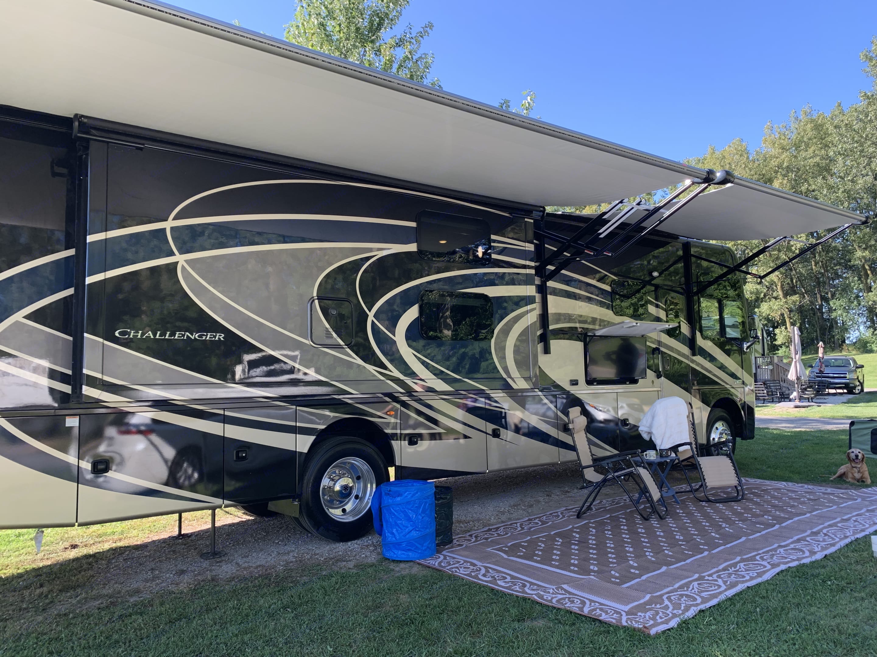Enjoy the outdoors under the awnings watching the outdoor TV or listening to music via the Bluetooth soundbar.  . Thor Motor Coach Challenger 2019