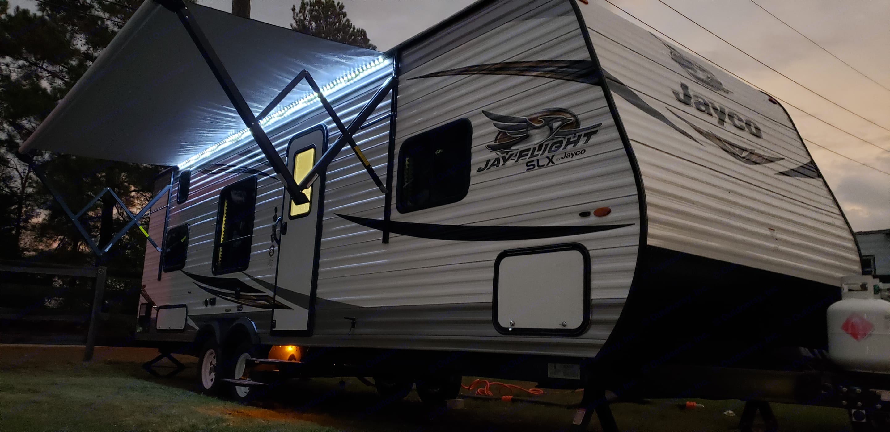 Over sized awning with outdoor speakers and LED lighting. . Jayco Flight 2019