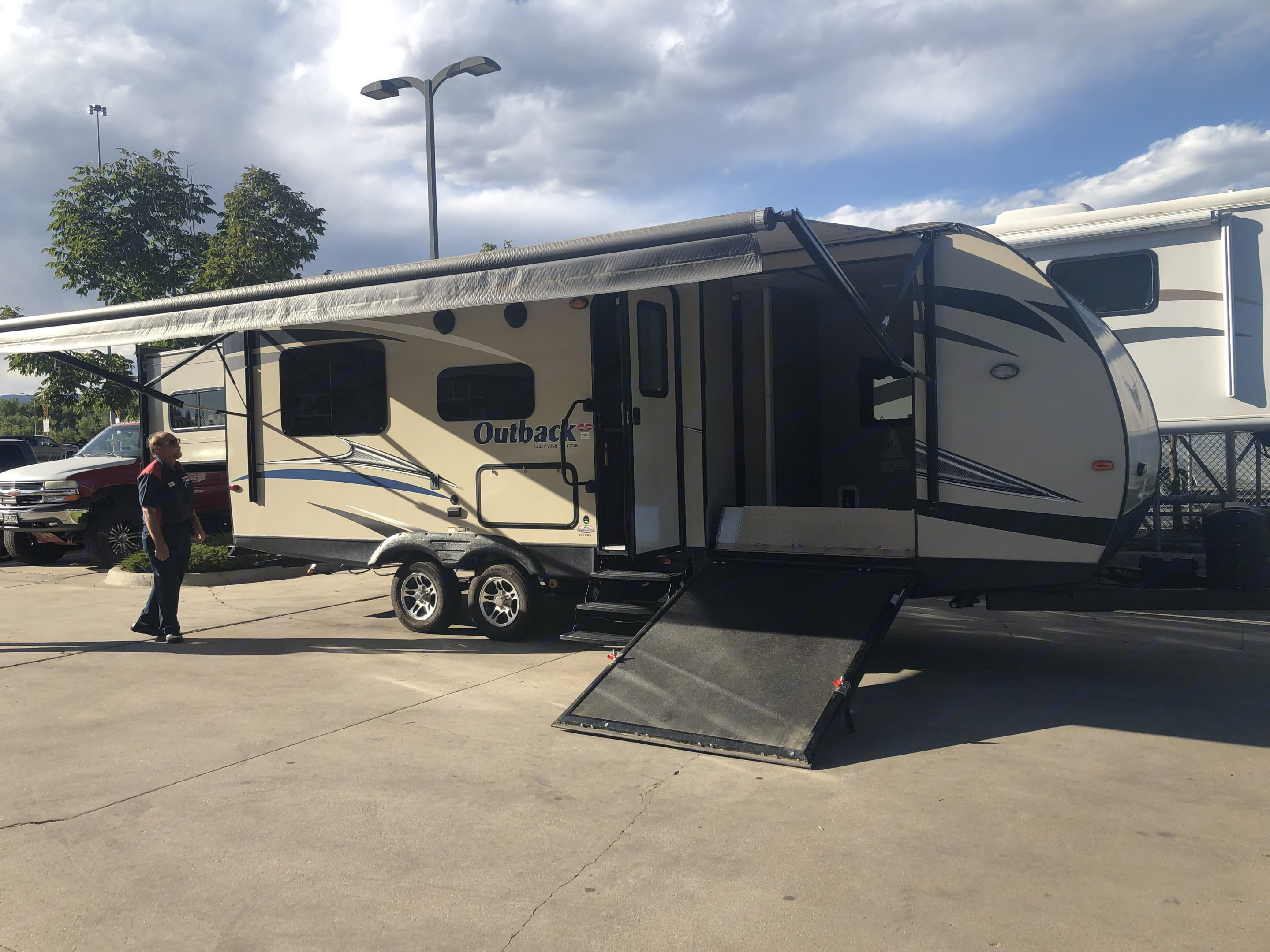 Front load toy hauler, perfect for bikes, quad, Harley, dirt bikes, or even kayaks. Ramp makes camper handicap accessibly, however, there is a narrow hallway and not much space to move once inside.. Keystone Outback 2017