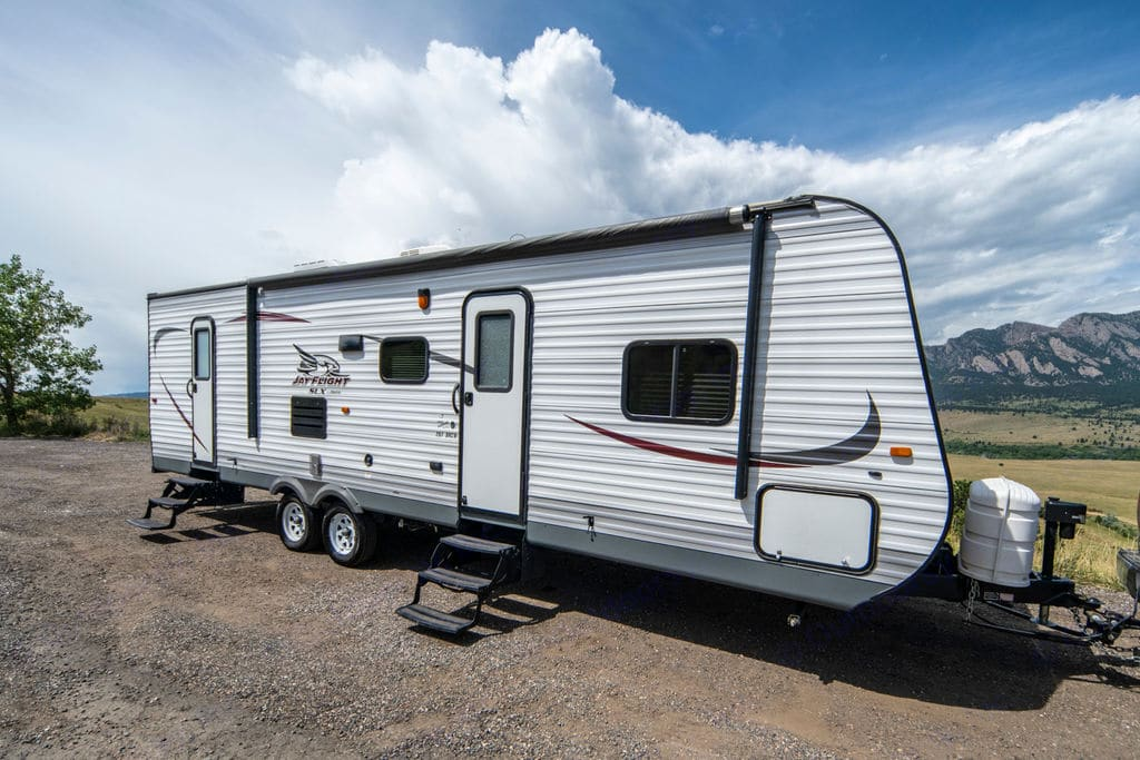 Two entry/exit doors for easy access to living area and bathroom!. Jayco Jay Flight 2015