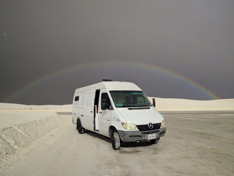 Van life in White Sands National Park. Mercedes-Benz Sprinter 2005