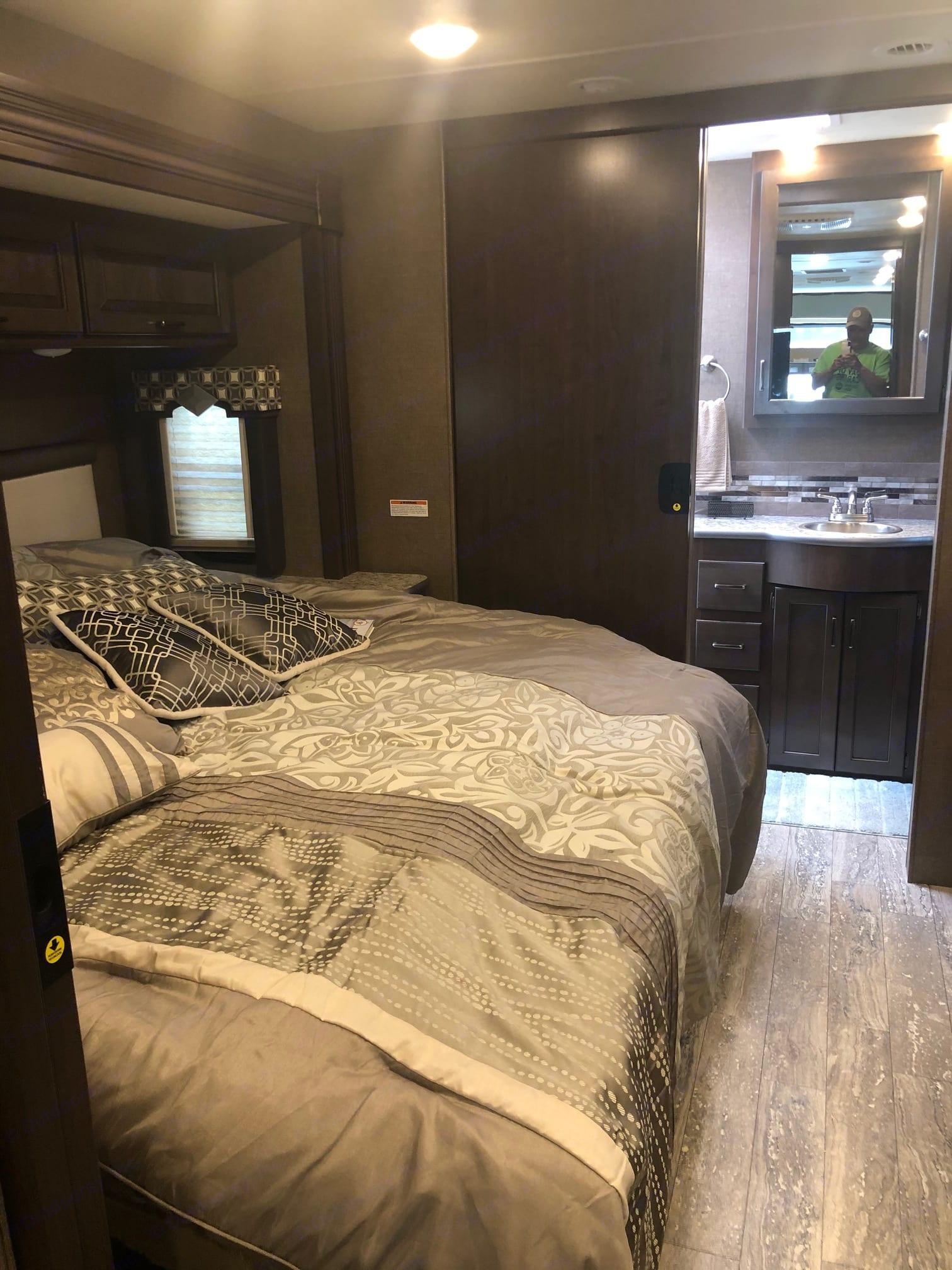 King Size Master Bed. Thor Motor Coach Hurricane 2019