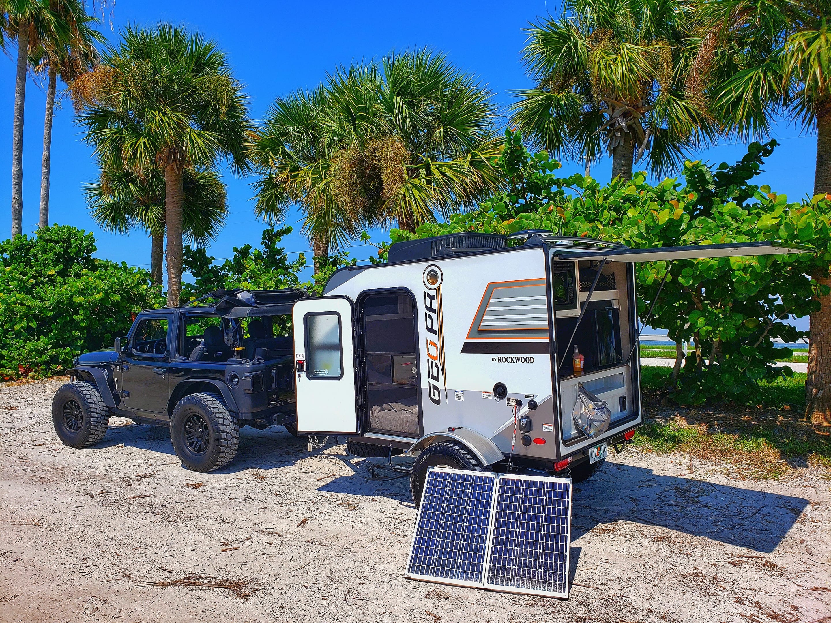 Easy to tow with almost anything.  130 watts of solar power keeps the batteries topped off quite well.  I just camped for two nights and it stayed charged.. Forest River Rockwood 2019