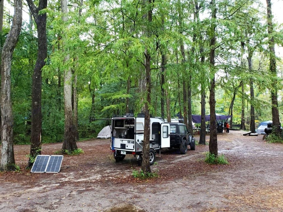 This past weekend with some tree cover and off-and-on rain, the solar kit kept the batteries charged.. Forest River Rockwood 2019