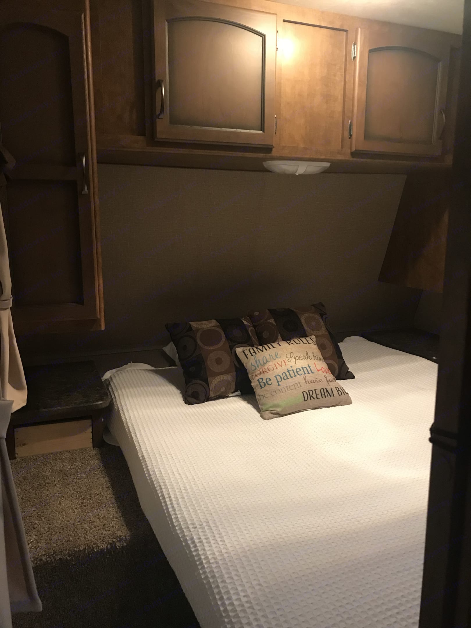 Queen size bed with doors to make it private. Crossroads Zinger 2016
