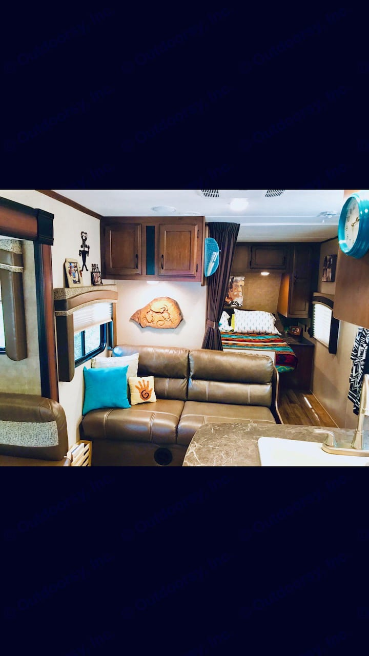 """Sofa - """"Jack Knife Sofa"""", Private Curtain for Bedroom - Queen Bed A lot of Cabinets. Jayco Jay Flight 2016"""