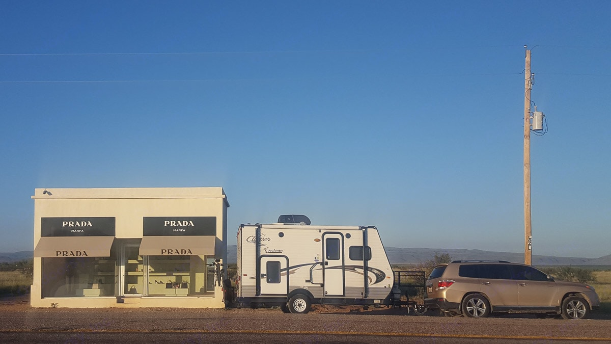 Teensy has been all over the U.S. Here, she's posing in front of Prada, Marfa. . Coachmen Clipper 2015