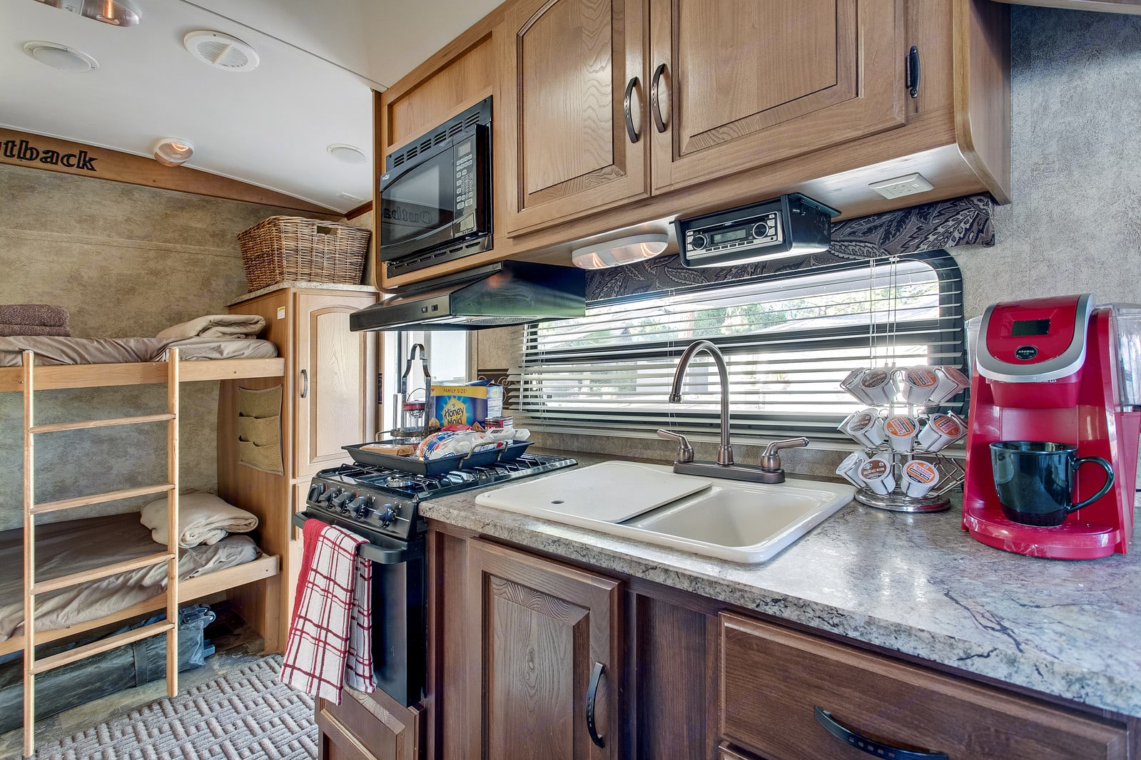 Kitchen with coffee ready at the hit of a button. Keystone Outback 2013