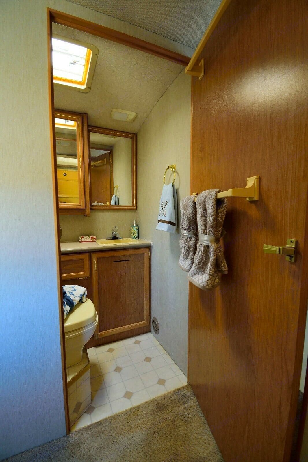 Split bathroom with shower. Don't forget your toothbrush. . Fleetwood Storm 1996