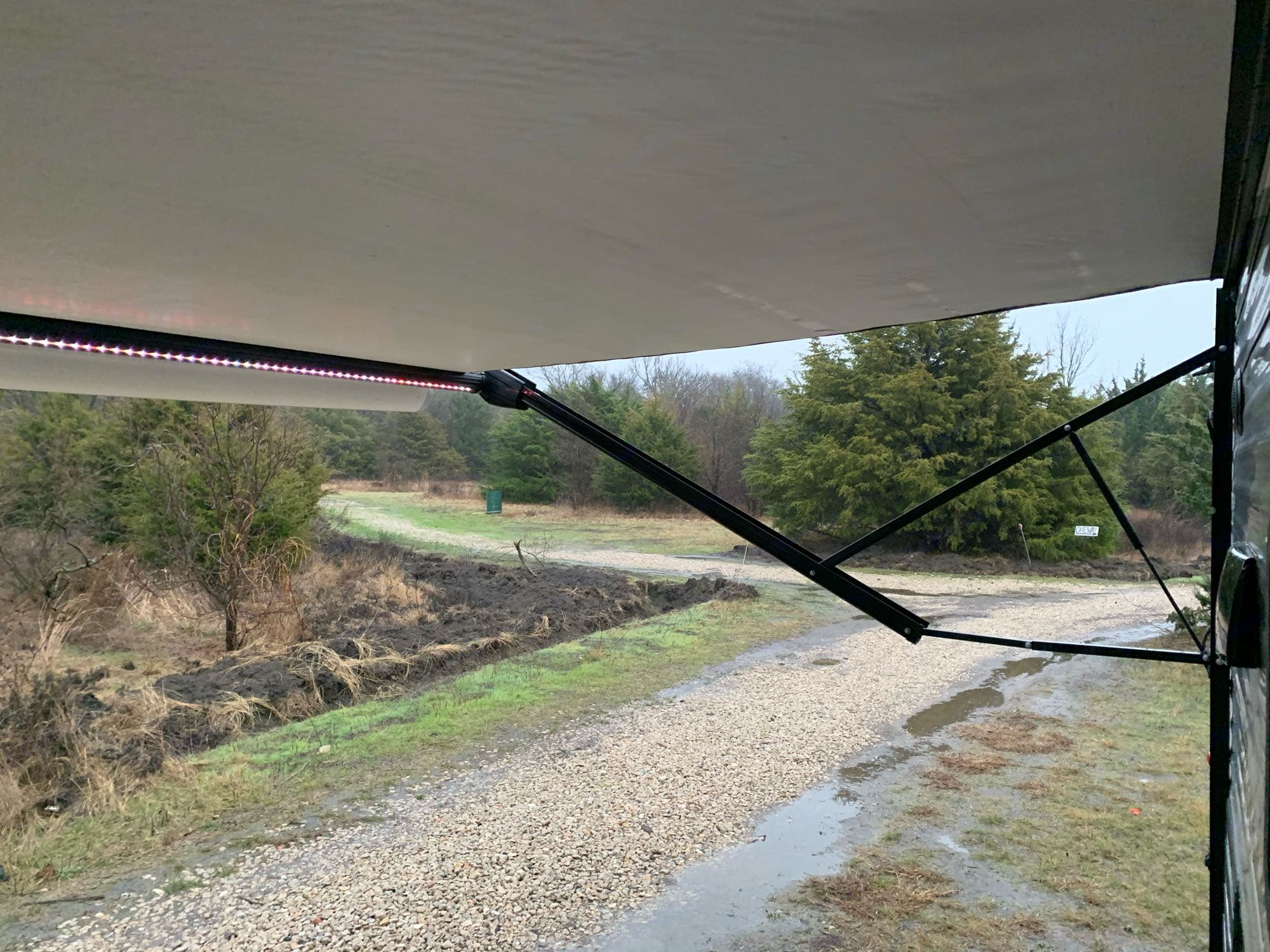 Adjustable awning with led light bar. Heartland Pioneer 2018