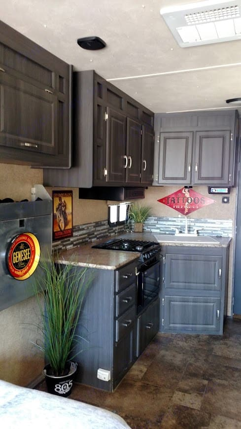 Full Service Kitchen - Modern decor with a vintage flair . Forest River Work And Play 2014