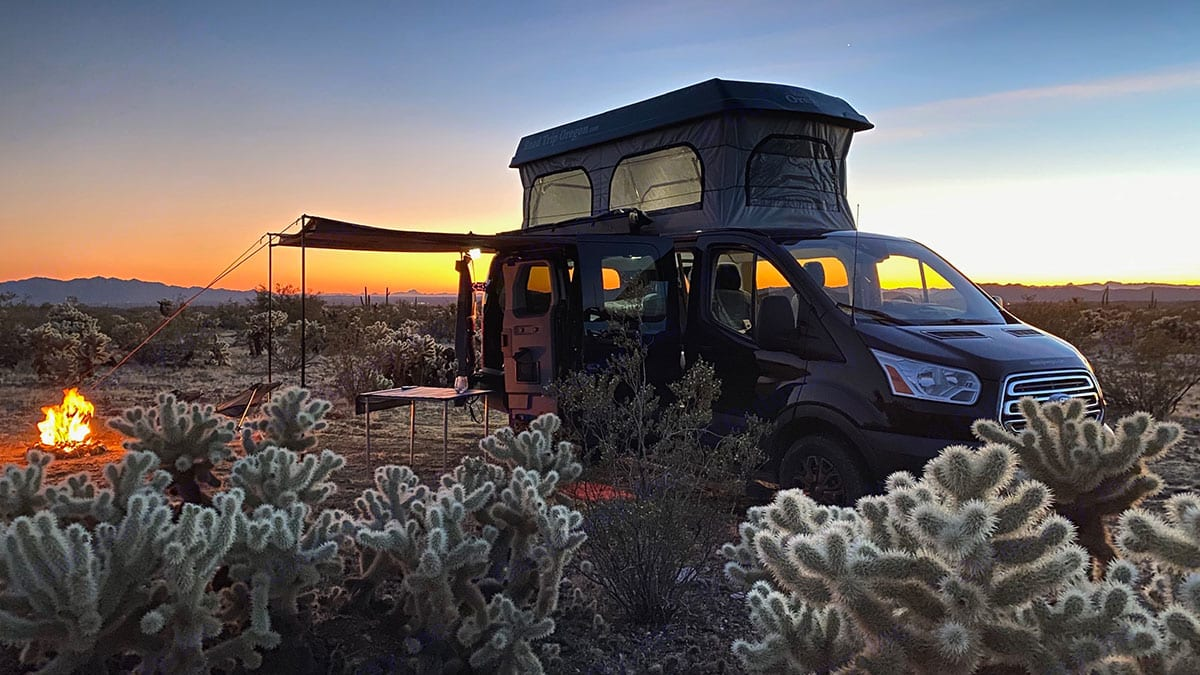 The self contained camper is the perfect vehicle for exploring Arizona. Ford F350 2018