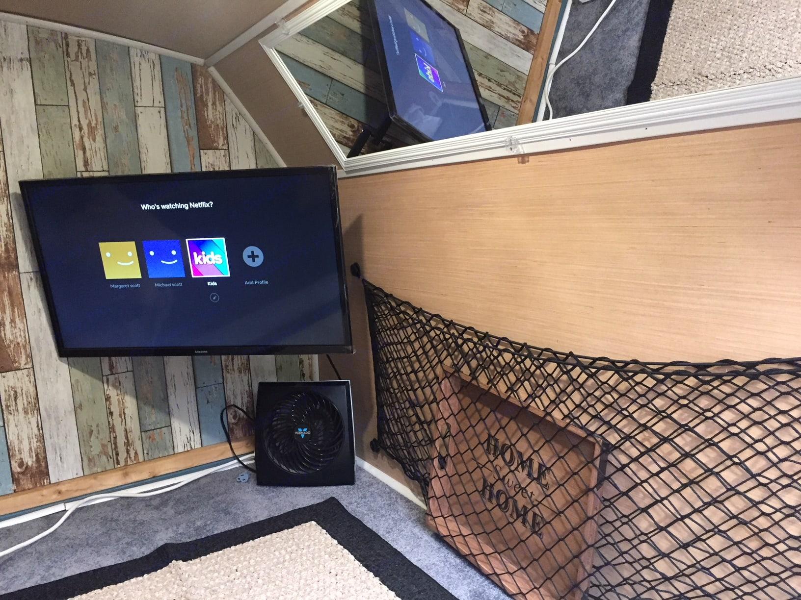 TV/Storage Area. Custom Teardrop Camper 2019