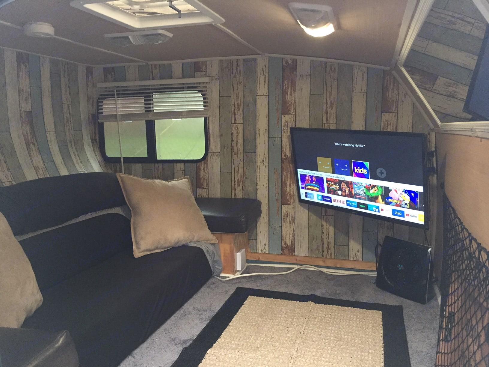 Interior Couch Position. Custom Teardrop Camper 2019