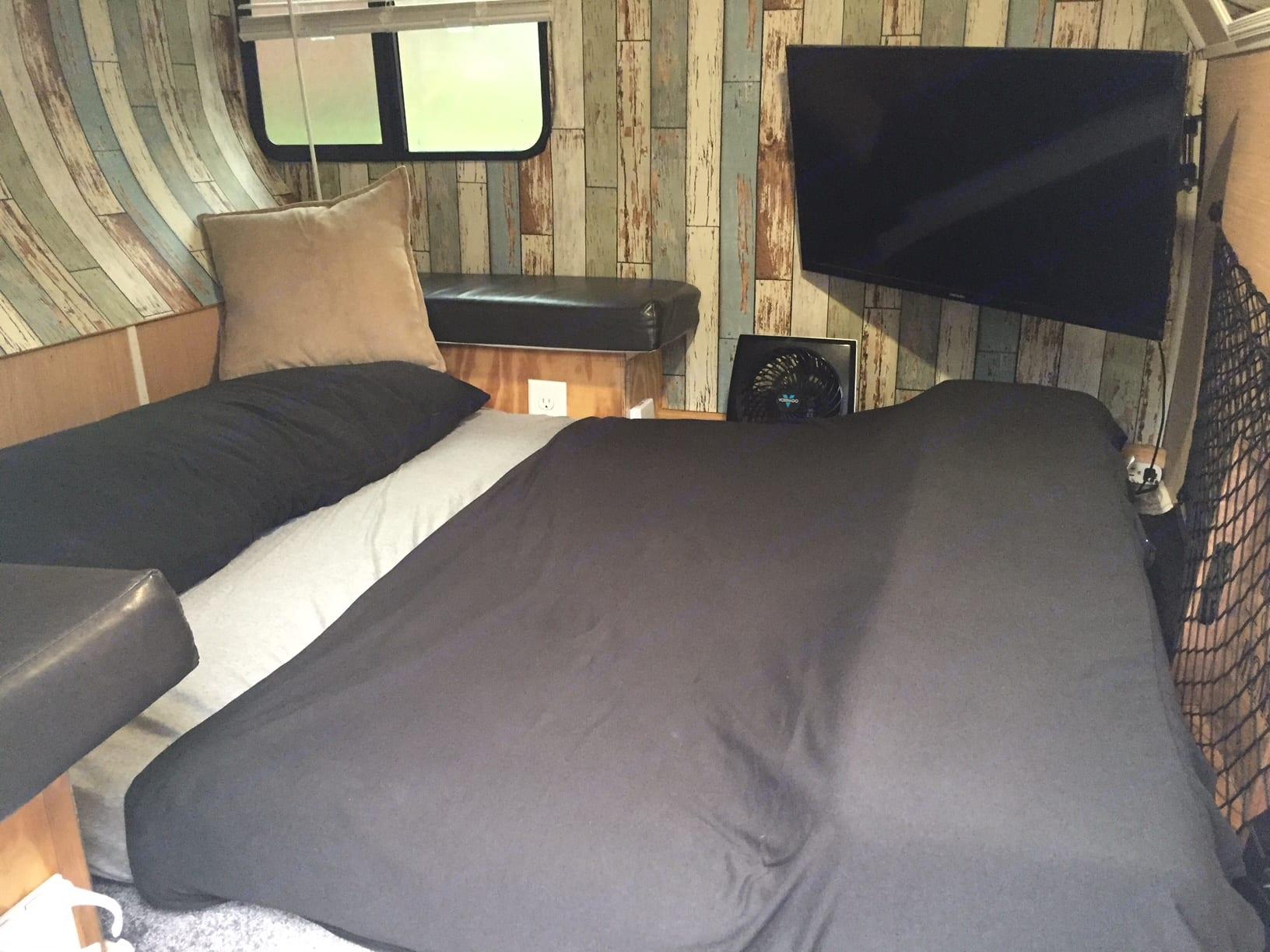 Interior Bed Down (Sleeping position). Custom Teardrop Camper 2019