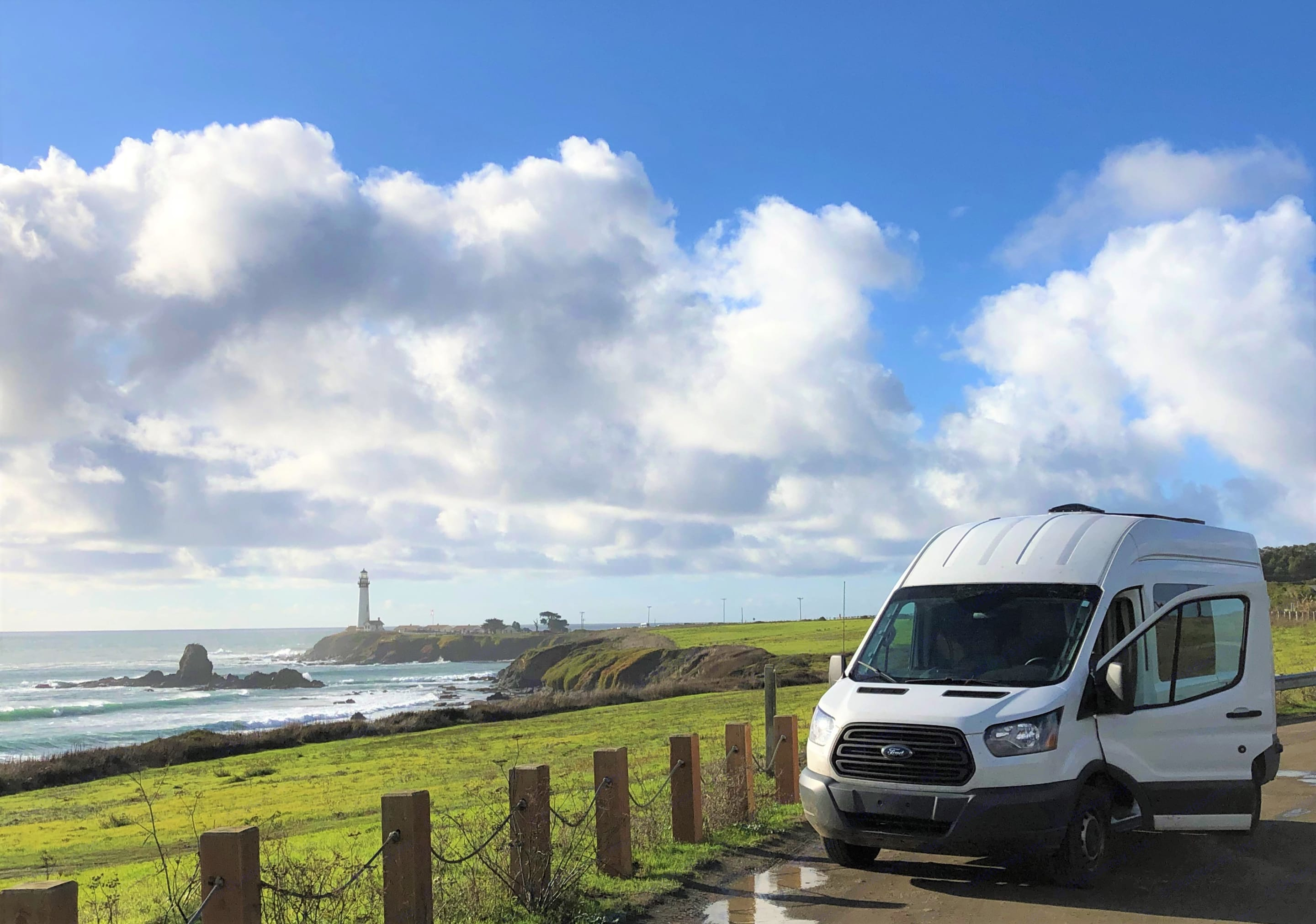 Pigeon Point Light House within a short ride North of Santa Cruz on HWY1. Ford Transit 2015