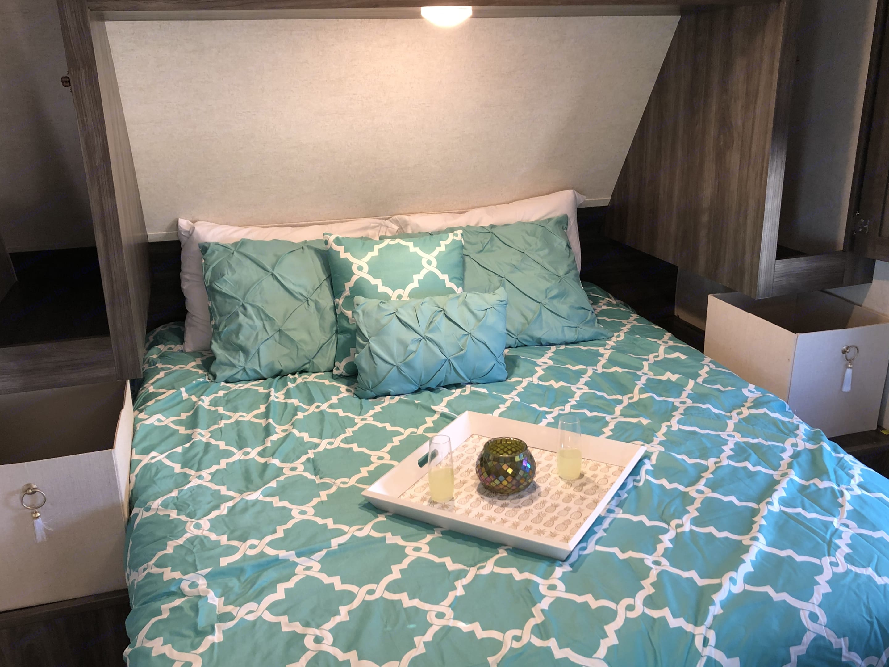 """Private bedroom with a door that closes, 4"""" memory foam topper and tons of storage! . Highland Ridge Open Range 282BH 2019"""