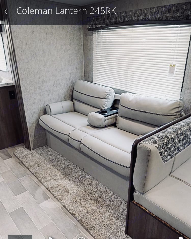 Jack Knife Sofa that becomes a bed. Dutchmen Coleman 2019
