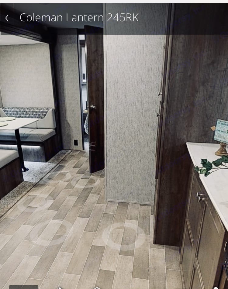 Dinette View with Bathroom to the Right. Dutchmen Coleman 2019