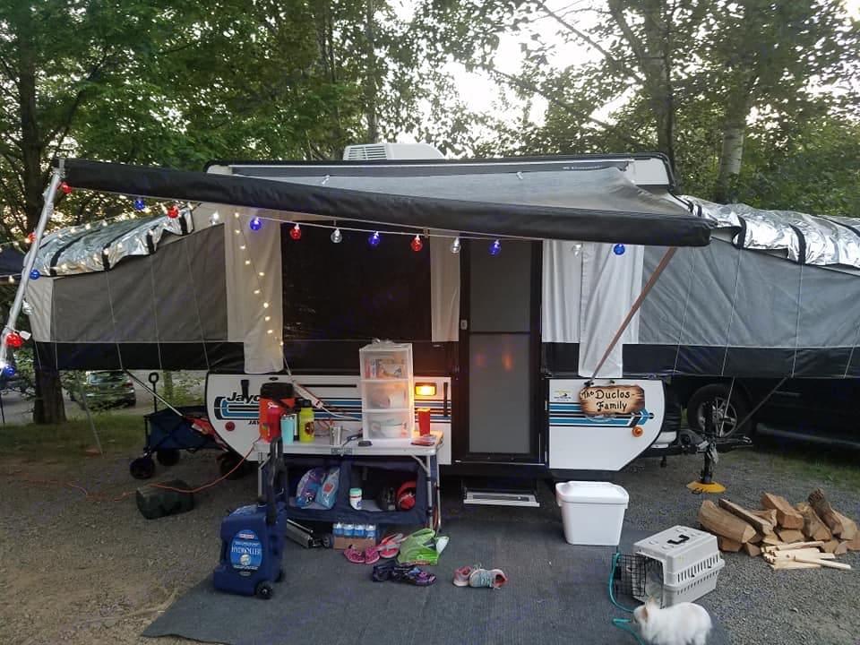 Set up for a week of camping at a resort in PA. Far left is a full size bed, far right is a queen size bed. . Jayco Jay Series 2017