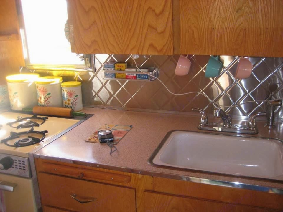 Countertop and sink.. Shasta 1500 1963
