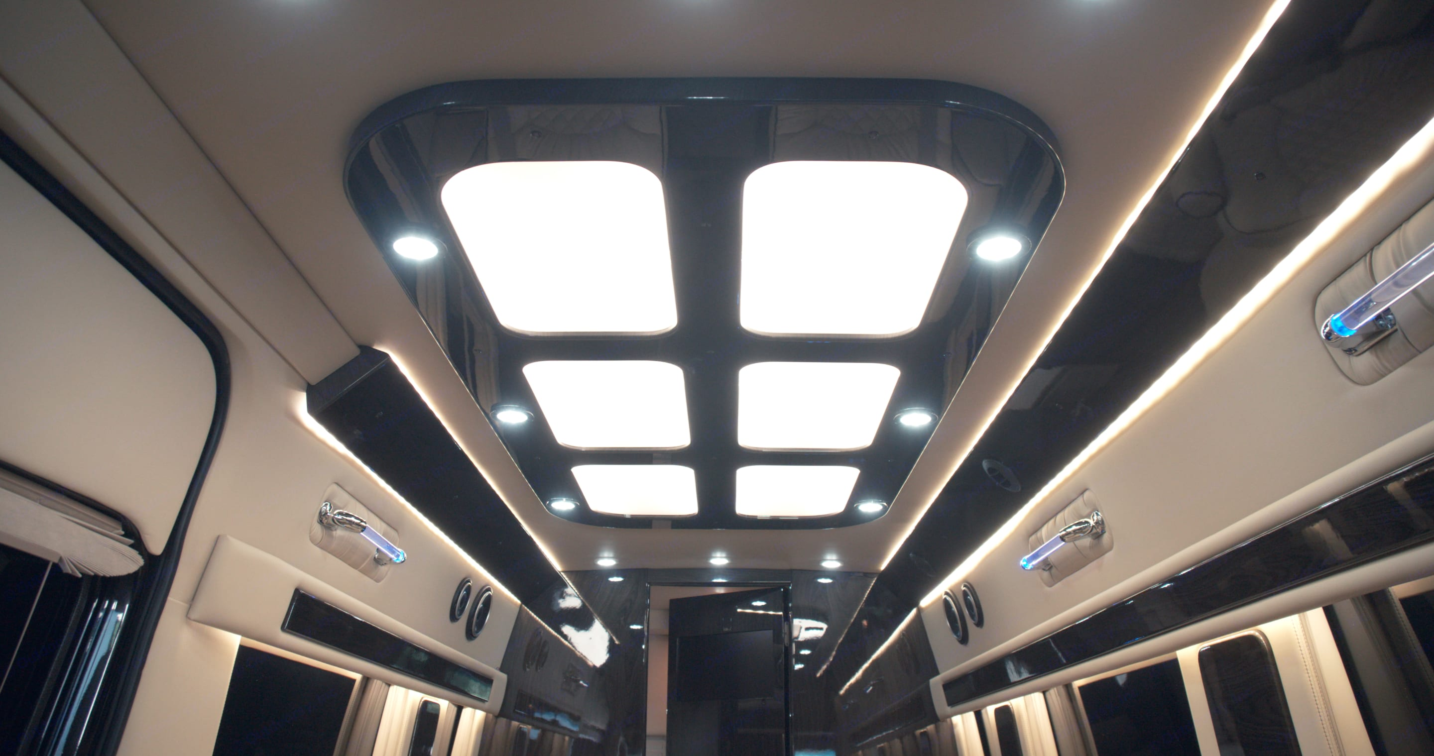 The beautifully handcrafted and custom interior will make you think you're on a private jet.. Mercedes Sprinter 2020