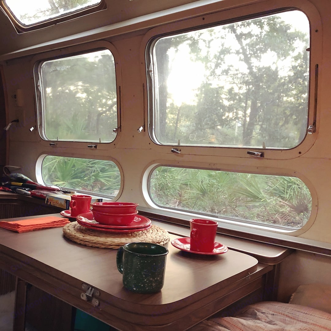 Massive windows! (White curtains have since been added for privacy). Airstream Land Yacht 1972