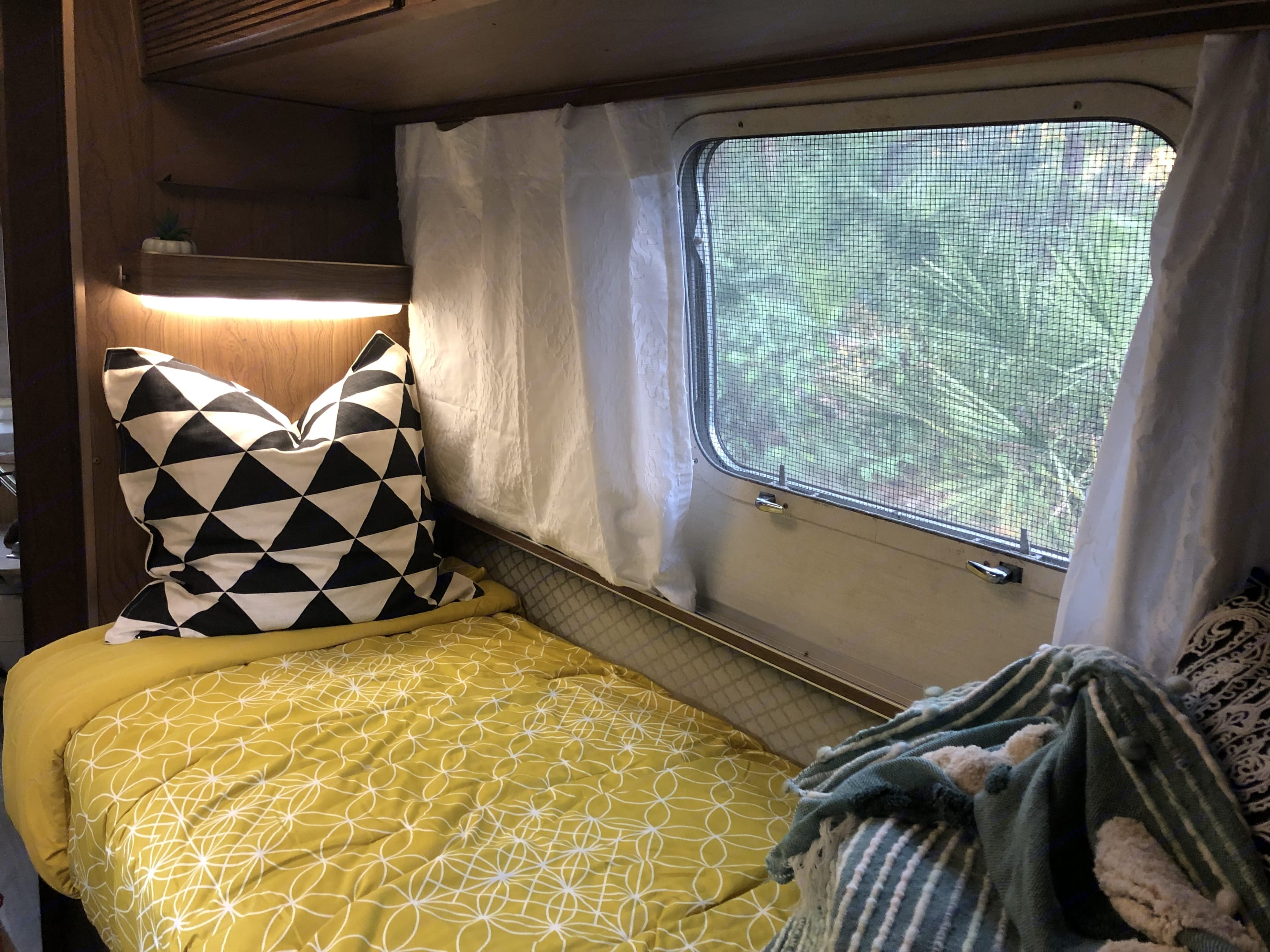 Fresh new curtains for added privacy!. Airstream Land Yacht 1972