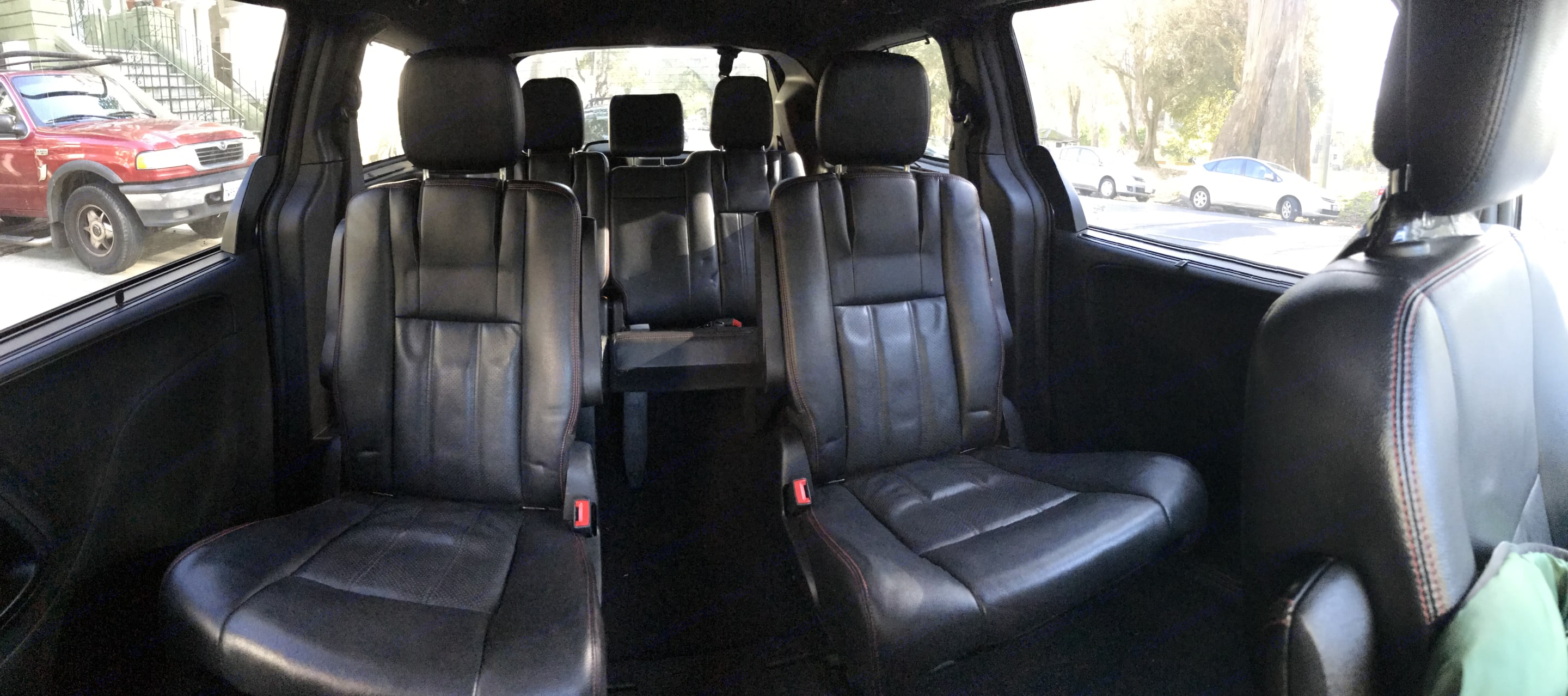 all of the back seats easily fold up and down (fully into the floor), seats 7 total. Dodge Grand Caravan 2013
