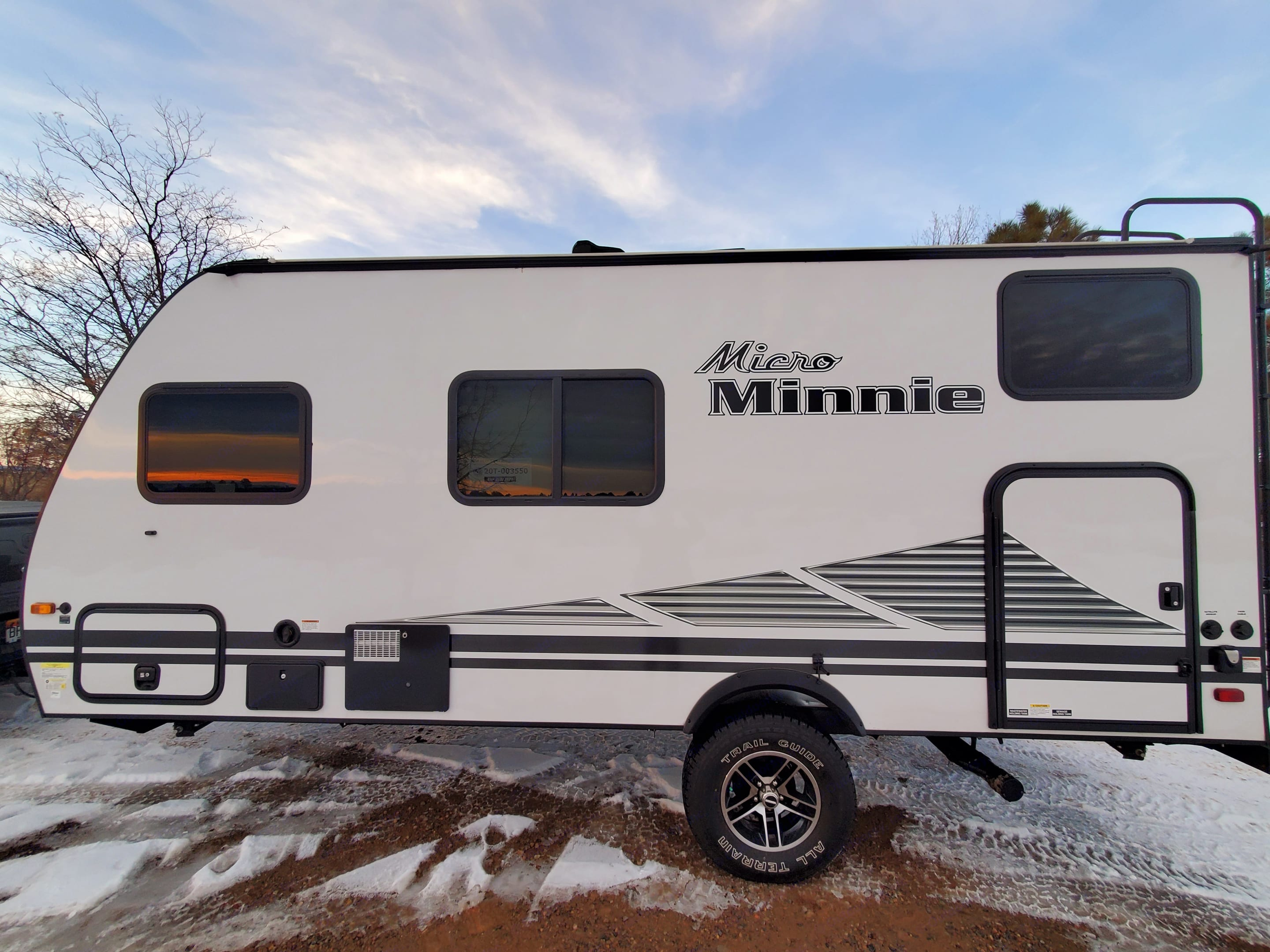 Side door makes for easy storage for items, even bikes!. Winnebago Micro Minnie 2020