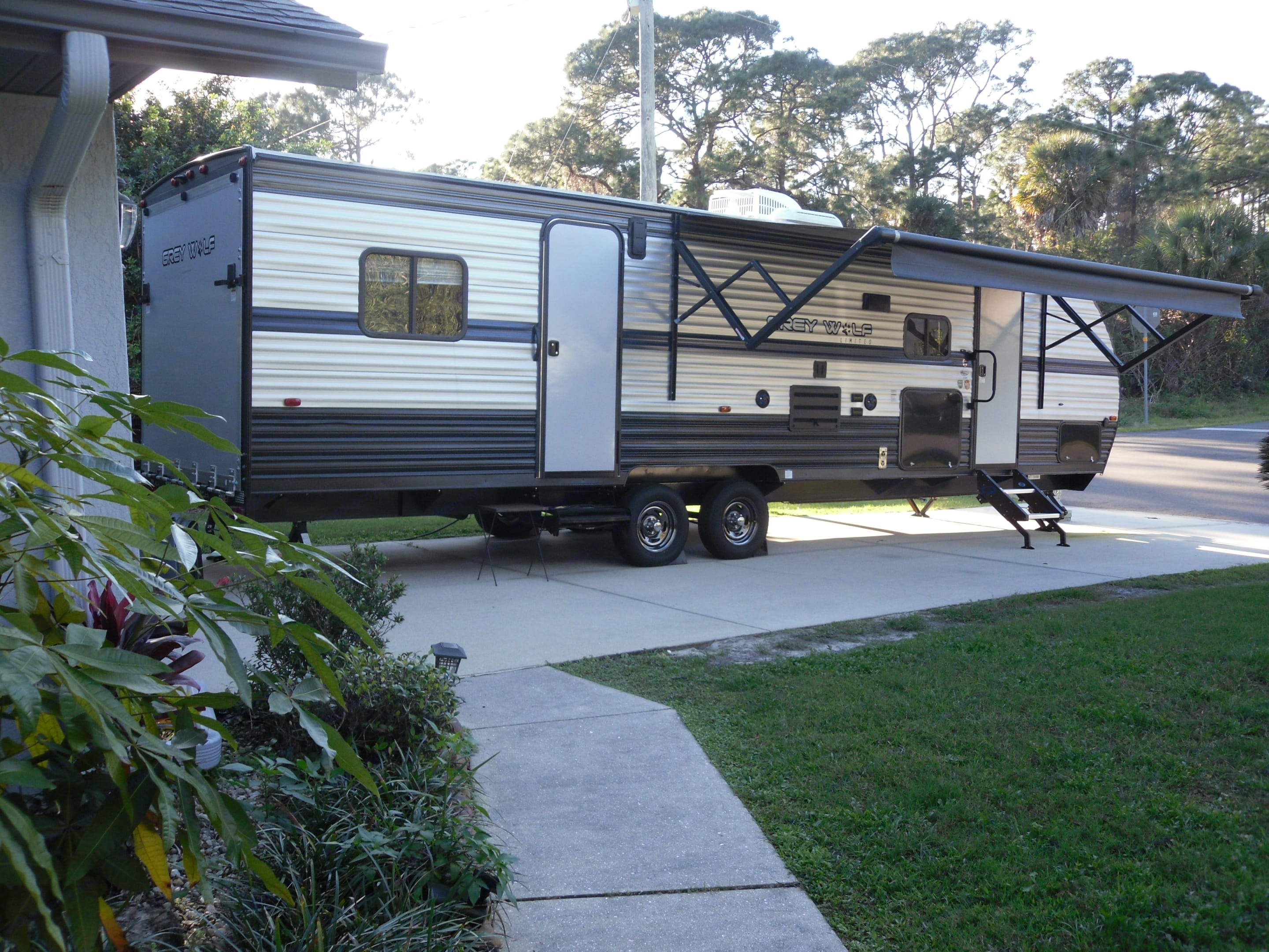 Awning fully extended. Forest River Grey Wolf Toy Hauler 2019