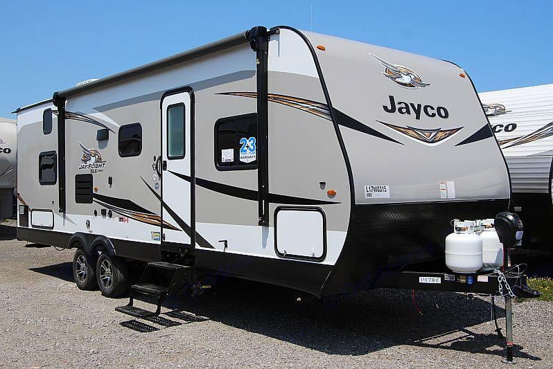 The 267 BHS.  The powered awning is equipped with LED lighting and speakers. Jayco Jay Flight 2020