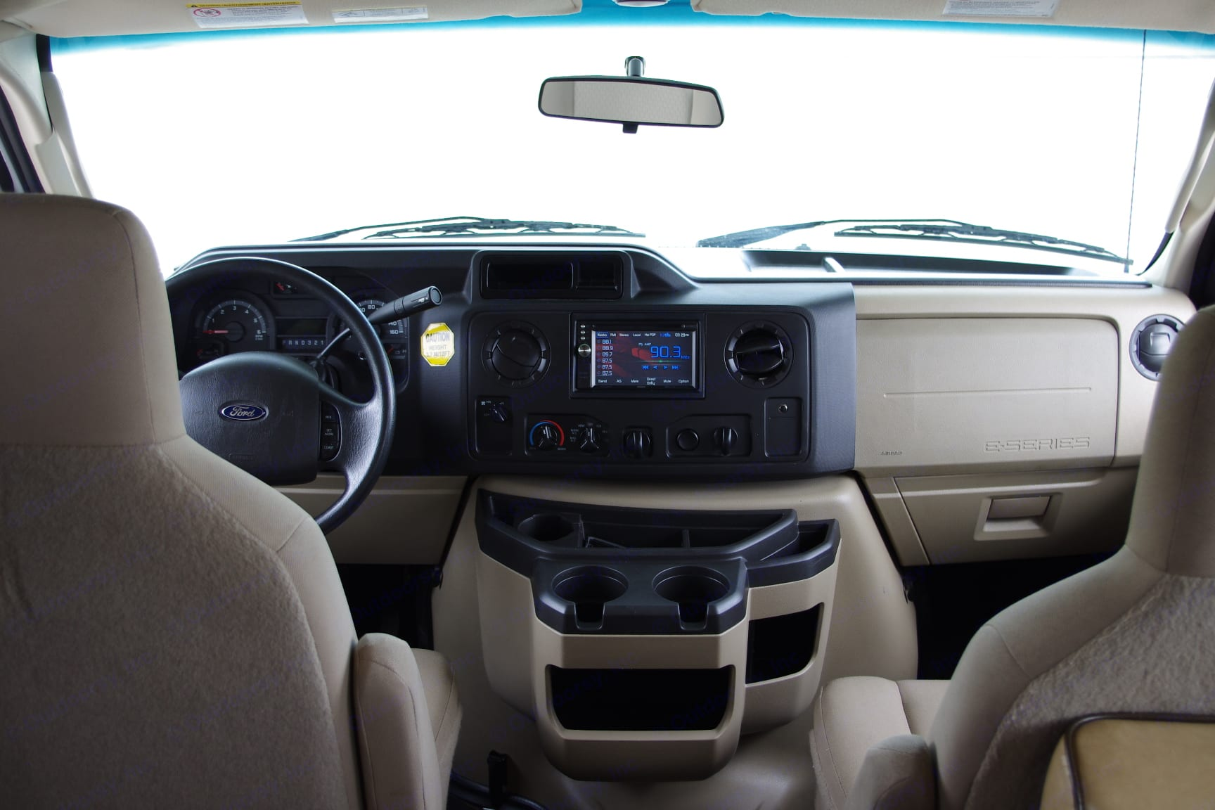 Driving cockpit - everything you need. Rear camera, Navigation and GPS, and full DVD functions. Forest River Sunseeker 2015